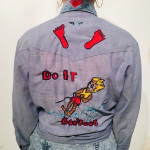 Vintage denim button down with hand-embroidery